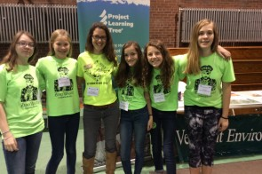The Northfield Middle School Green Team poses with the Vermont PLT Coordinator at YES